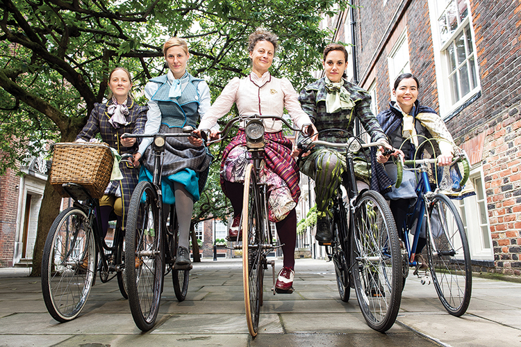 Bikes and Bloomers author Kat Jungnickel and friends riding bikes in Victorian cycle wear