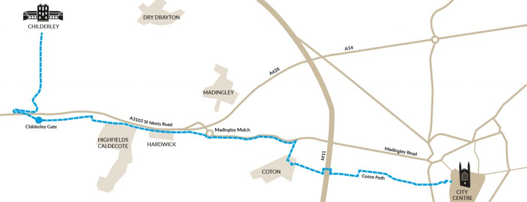 Cambridge to Childerley route map