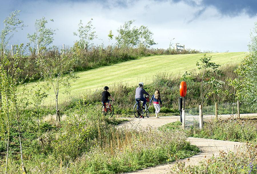 Cyclists in Brook Leys, Eddington